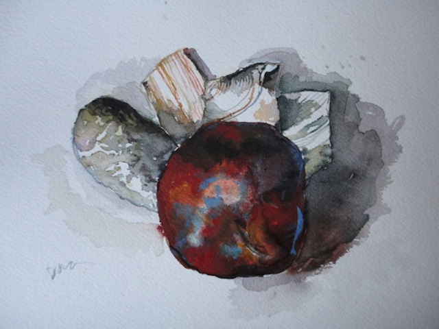 Dark Apple Hides Shells, Watercolor  ©2012Dora Sislian Themelis
