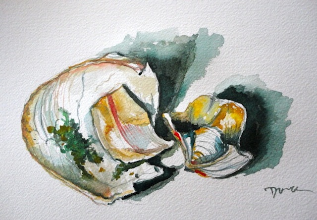The Underside of Sea Shells ©Dora Sislian Themelis 8x12 Watercolor, Arches paper
