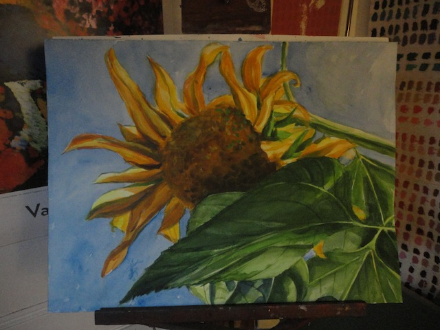 The newest watercolor painting is waiting to be finished