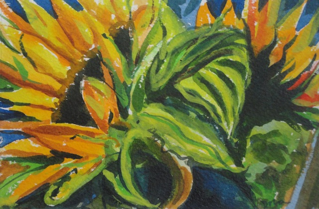 Some Sunflowers ©2014 Dora Sislian Themelis 6x4 Watercolor, Arches paper