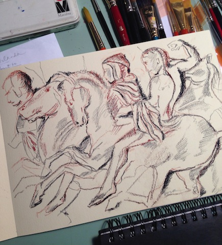 Conte crayon sketch of the Elgin Marbles bas relief
