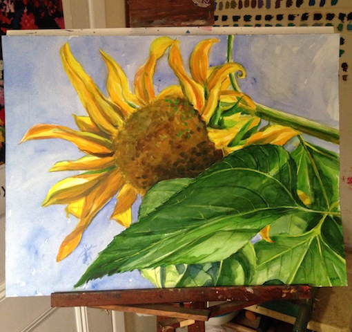 Sunny Sunflower ©2014Dora Sislian Themelis, 18x24 Watercolor, Arches paper