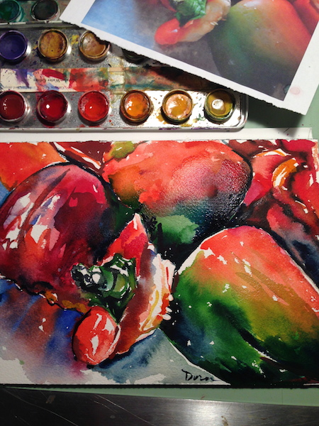 Working with watercolors with Marabu pan paints