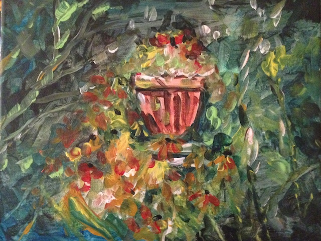 Urn in Garden 8x10 Acrylic on Canvas ©Dora Sislian Themelis $100