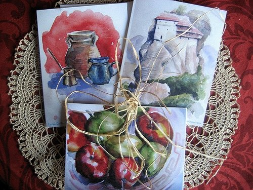 Greek themed notecards of my watercolor paintings
