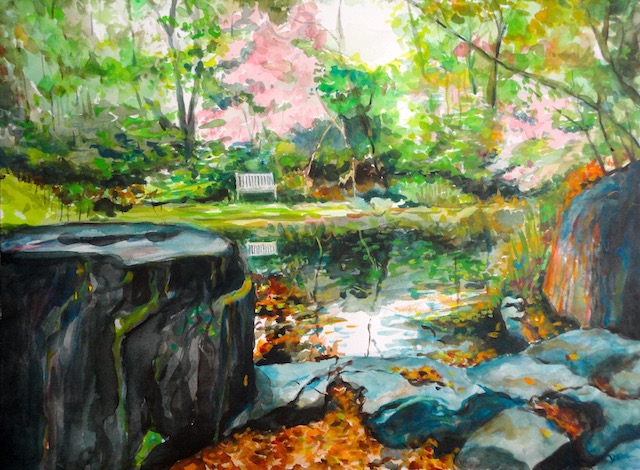 @Dora Sislian Themelis Fall Pond, 18x24 Watercolor, Arches paper
