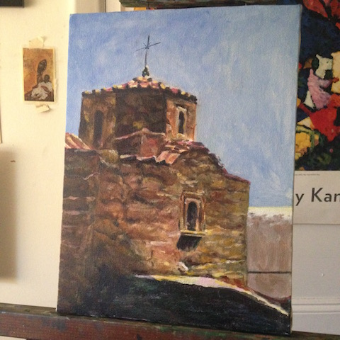A view of St. John Theologos Monastery on Patmos Island, Greece on the easel